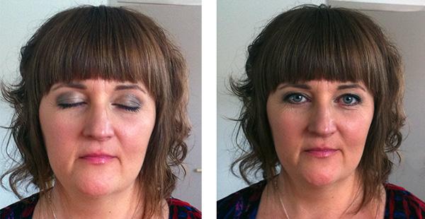 Efter makeup-behandlingen, fest-makeup