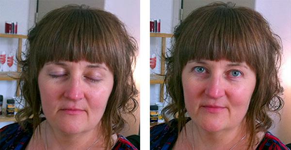 FÖRE makeup-behandlingen, osminkad